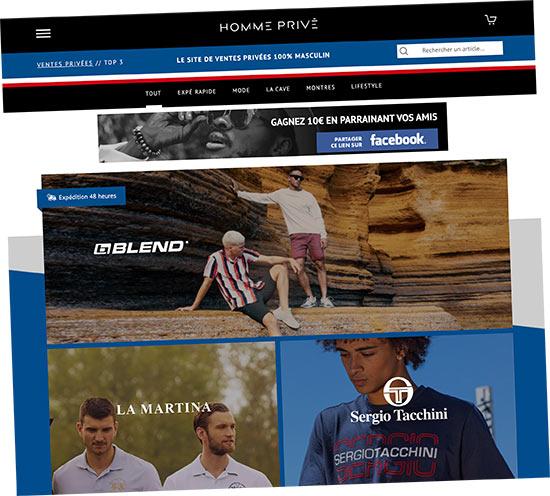Capture d'écran du site Homme Privé